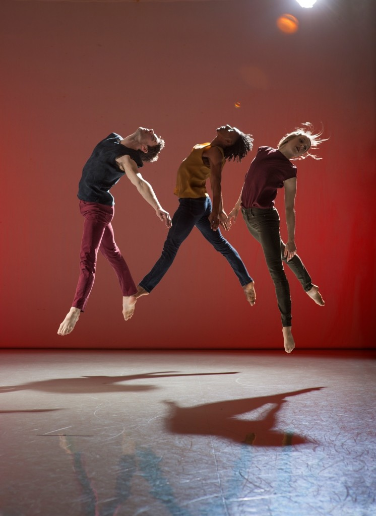Richard Alston Dance Company in Stronghold by Martin Lawrance (Dancers: Nicholas Bodych, Ihsaan de Banya and Elly Braund)Photo Chris Nash