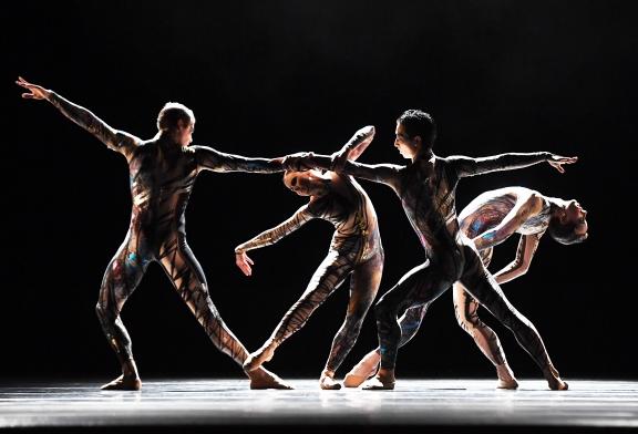 Dutch National Ballet in George Williamson's Crane(dancers: Sem Sjouke, Emanouela Merdjanova, Sho Yamada, James Stout)Photo Hans Gerritsen