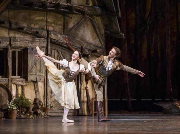 Marianela Nuñez as Giselle and Vadim Muntagirov as Count Albrecht in Act 1 of GisellePhoto ROH, Tristram Kenton