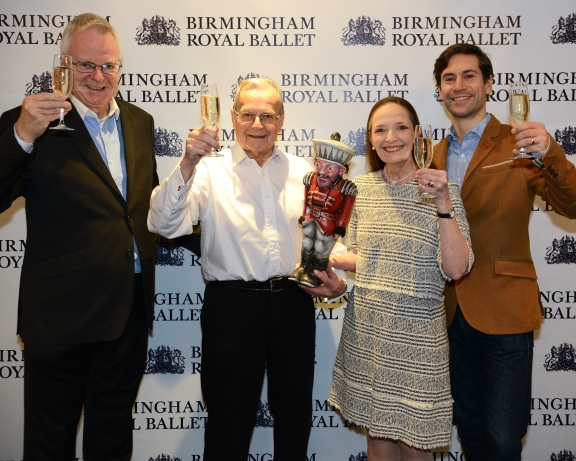 Sir Peter Wright (second left) with former Birmingham Hippodrome director Peter Tod,Birmingham Royal Ballet assistant director Marion Tait, and company soloist and choreographer Kit Holderat the celebrations marking the 25th anniversary of Birmingham Royal ballet's The NutcrackerPhoto Roy Smiljanic (taken at Nutcracker 25th year celebration, 2015)
