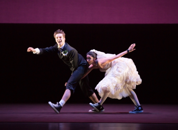 Angela Paul (Kate) and Lachlan Monaghan (Petruchio) in The Shakespeare SuitePhoto Andrew Ross