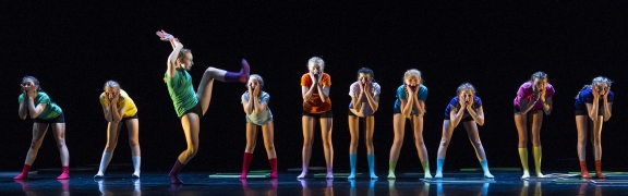 Colour and fun from Dame Allan's School, Newcastle upon Tyne at Rambert ElementsPhoto Fotieni Christofilopoulou