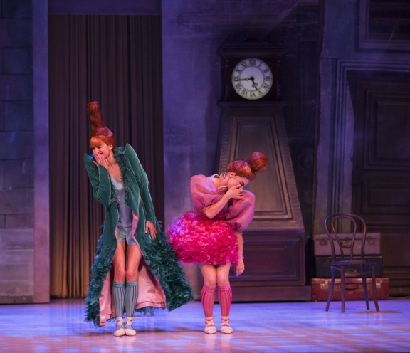 Ingrid Gow and Eloise Fryer of The Australian Ballet as the Stepsisters in Alexei Ratmansky's CinderellaPhoto Kate Longley
