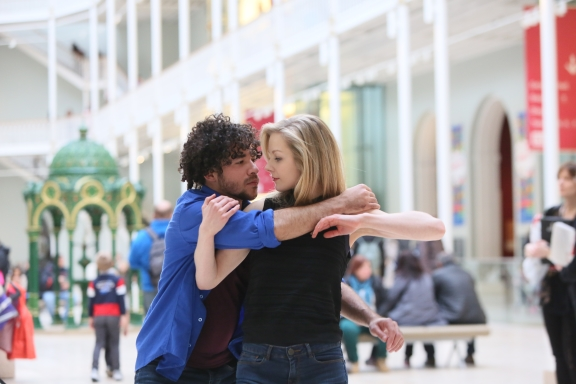 Janis Claxton's POP-UP Duets (Fragments of Love) at the National Museum of Scotland(pictured Carlos J Martinez and Christina Liddell) Photo Roy Campbell-Moore