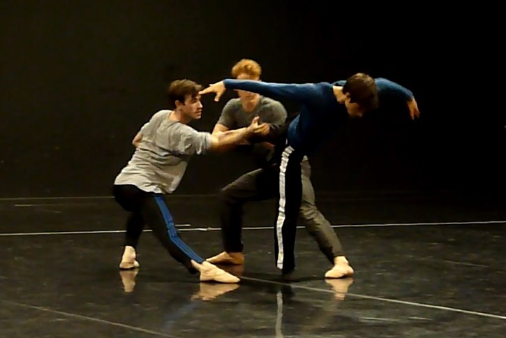 Another shot of the men's trio from Strangers in rehearsalPhoto David Mead