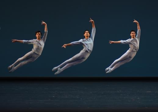Bayerisches Staatsballett II in Allegro Brillante(dancers here: Carl van Godtsenhoven, Flemming Puthenpurayil and Francesco Leone)Photo Charles Tandy