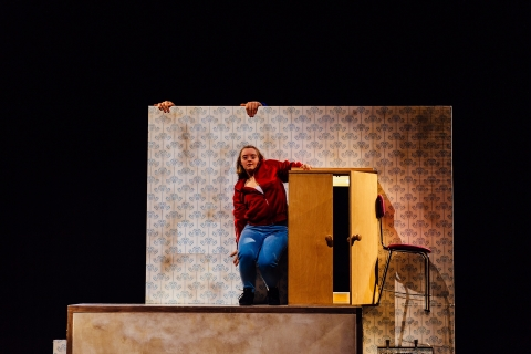 Hannah Sampson as Sam in Stopgap's The Enormous RoomPhoto Michael Chapman