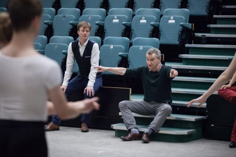 Robert Parker watches as David Bintley makes a point in rehearsalPhoto Ty Singleton