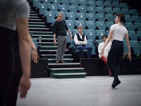 David Bintley in rehearsal for Comic Cuts, watched on by Robert Parker and Lei ZhaoPhoto Ty Singleton