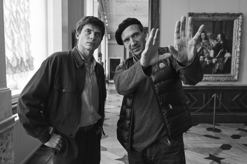 Director Ralph Fiennes with lead actor Oleg Ivenko at the Russian State Hermitage MuseumPhoto The White Crow