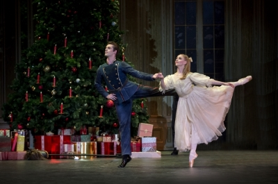 Karla Doorbar as Clara with Lachlan Monaghan in Birmingham Royal Ballet's The Nutcracker at the Royal Albert HallPhoto Annabel Moeller