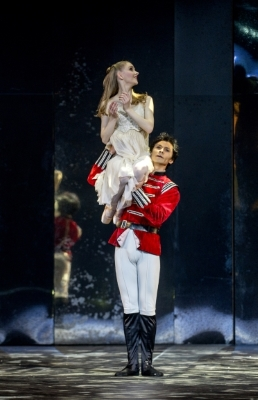 Karla Doorbar as Clara with César Morales as the Nutcracker Princein Birmingham Royal Ballet's The Nutcracker at the Royal Albert HallPhoto Annabel Moeller