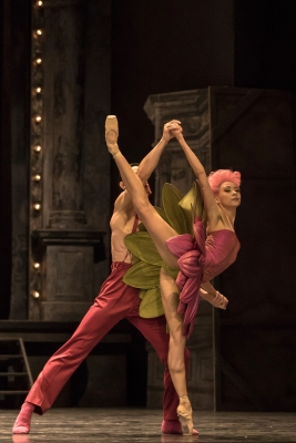 Anna Khamzina with Alexander Jones in The Waltz of the Flowers from Christian Spuck's Nutcracker and the Mouse KingPhoto Gregory Batardon