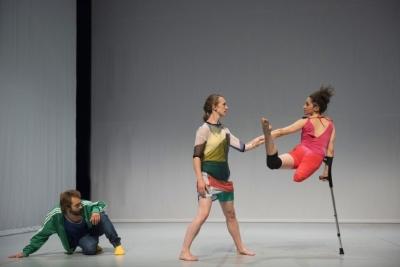 Nicolas Vendange, Megan Armishaw and Mickaella Dantas in Face In by Yasmeen GodderPhoto Hugo Glendinning