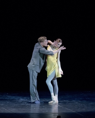Svetlana Zakhraova with choreographer Vladimir Varnava in Plus. Minus. Zero.Photo Pierluigi Abbondanza