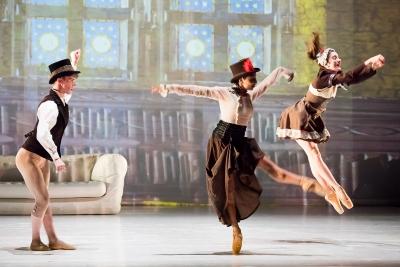 Ballet Cymru in Cinderallapictured: Maria Teresa Brunello (Stepsister), Eka Mastrangelo (Stepmother),  Jimmy Parratt (Brother)Photo Sian Trenberth