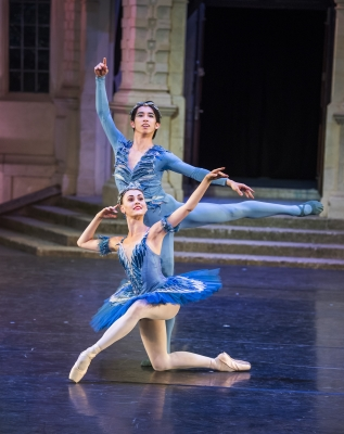 Amelia Townsend and Taisuke Nakao as Princess Florine and the Bluebird and Princess Florine in Aurora's WeddingPhoto The Royal Ballet School, Tristram Kenton