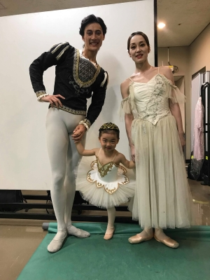 A ballerina of the future?Nao Sakuma, husband Yasuo Atsuji and daughter Karen recently in JapanPhoto courtesy Nao Sakuma