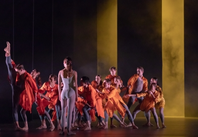 Delia Mathews as River with Artists of Birmingham Royal Ballet in Ignite by Juanjo ArquésPhoto Andrew Ross