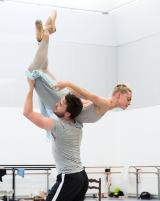Bethany Kingsley-Garner and Nicholas Shoesmith rehearsing Helen Pickett's The CruciblePhoto Andy Ross