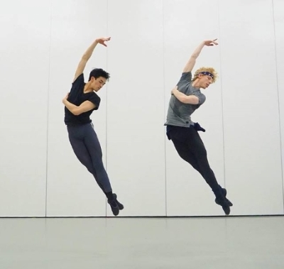 George Liang in one of Northern Ballet's studios with Sean batesPhoto Riku Ito