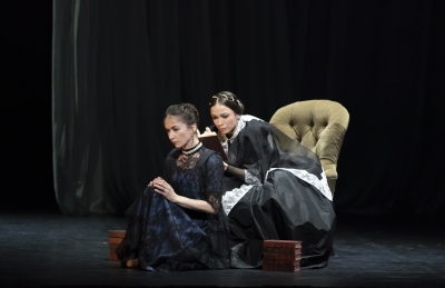 Pippa Moore as Older Princess Beatrice and Abigail Prudames as Victoria in VictoriaPhoto Emma Kauldhar