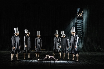 The Trial by Jiří Bubeníček(dancers: Hampus Gauffin, Samuele Ninci, Julien Keulen, Arsen Mehrabyan (on the floor), Jonatan Davidsson, Hiroaki Ishida, Otmar Klemann)Photo Sören Vilks