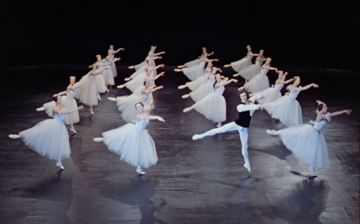 A still from the film of the Bolshoi Ballet in Chopiniana