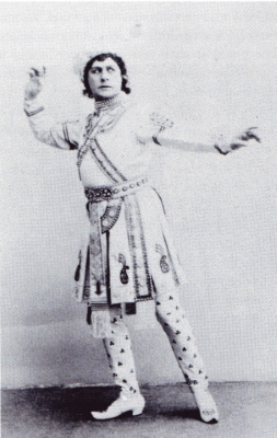 An illustration from the book showing Pavel Gerdt as Solor in La Bayadere, 1900