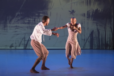 Dada Masilo as Giselle and Lwando Dutyulwa as AlbrechtPhoto Laurent Philippe