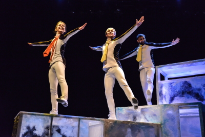 Olivia Van Niekerk, Osian Meilir and Dom Coffey in PenguinsPhoto Robert Day