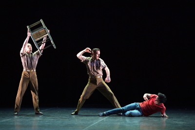 Matthew Astley, James Streeter, and Jeffrey Cirio in Christopher Bruce's SwansongPhoto Laurent Liotardo