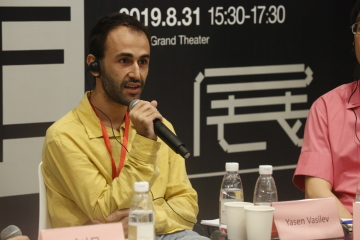 The author, Yasen Vasilev, in a panel discussion about audience developmentPhoto courtesy Yasen Vasilev