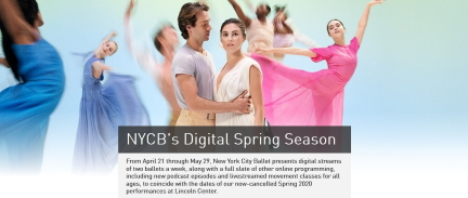 New York City Ballet's Digital Spring Season is one of the more thought through and comprehensive online offerings(Screenshot from NYCB website)