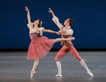 Ashley Bouder and Andrew Veyette in George Balanchine's Donizetti VariationsPhoto Paul Kolnik