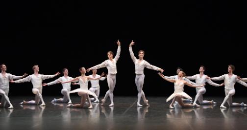Stuttgart Ballet in Concerto for Flute and HarpFront: Ami Morita, David Moore, Friedemann Voge, Alicia AmatriainPhoto Stuttgart Ballet