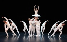Cranko's joyous male ballet blanc: Concerto for Flute and Harp