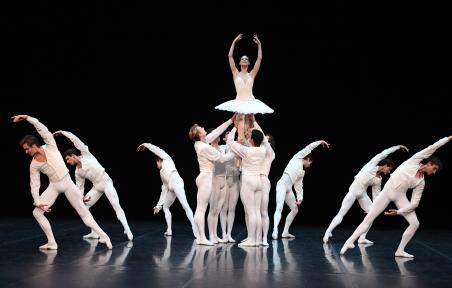 Cranko's joyous male ballet blanc: Concerto for Flute and Harp
