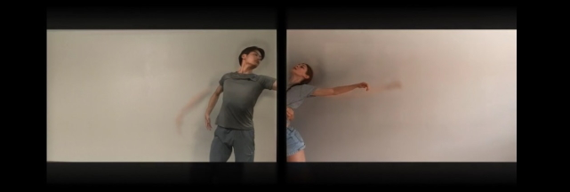 English National Ballet third year students in the socially distanced duet from Andrew McNicol's Gradus