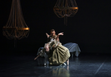 Ashley Dixon as Gercourt and Abigail Prudames as the Marquise in Dangerous LiaisonsPhoto Emma Kauldhar