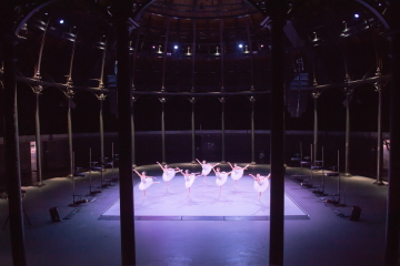 The vast emptiness of The Roundhouse is emphasised as ENBS 3rd Year women dance in Andrew McNicol's Of Space and TimePhoto ASH