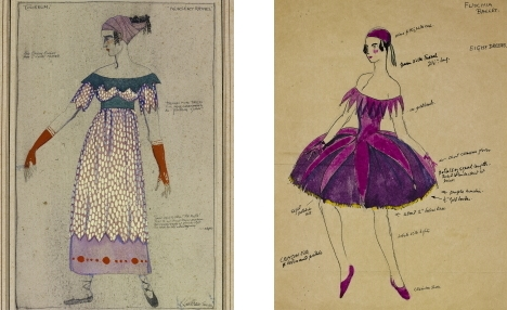 Costume designs by Claud Lovat Fraser for Nursery Rhymes by Tamara KarsavinaLittle Jumping Joan (left) and Fuschias (right)Photo Victoria and Albert Museum, London
