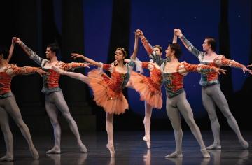San Francisco Ballet in George Balanchine's A Midsummer Night's Dream(pictured centre: Mingxuan Wang and Joseph Warton)Photo Erik Tomasson