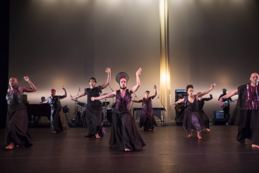 Annique Roberts (centre) and company in Mercy by Ronald K. BrownPhoto Julietta Cervantes