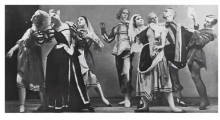 A moment from Antony Tudor's Cross Garter'd,shown by Jane Pritchard as an example of the choreographer's early work(dancers l-r: Elisabeth Schooling, Maude Lloyd, Betty Cuff, Rollo Gamble, Prudence Hyman, Walter Gore, Antony Tudor, William Chappell)Photo Rambert Archive/Pollard Crowther