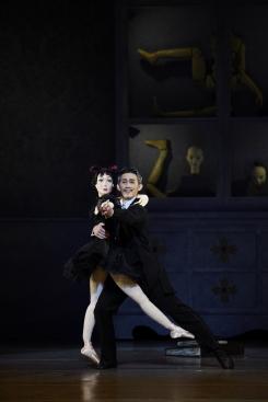 Shunya Nakajima as Coppélius waltzes with his dollPhoto courtesy New National Theatre/National Ballet of Japan